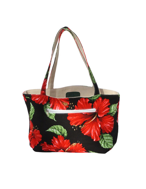 Small Reversible Black Tote Bag Designer Red Hibiscus Water Resistance Printed Canvas and Dobby Cotton Convenient Side Pocket with Zipper Reversible Fabric Design Color: Black Dimensions: 15 Inches Length x 9 Inches Height Imported