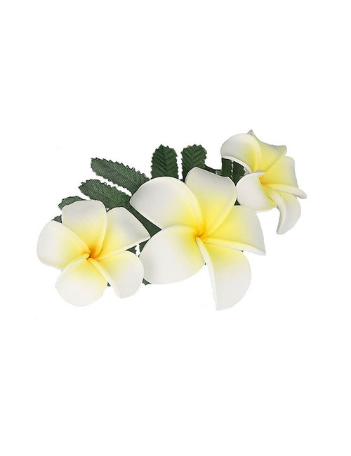 "Hair Accessory with White and Yellow Plumerias and Furn Clip Hair Accessory Flower Design Bendable Foam Large Banana Clip Color: White/Yellow Size: 3"" X 5"" Imported"