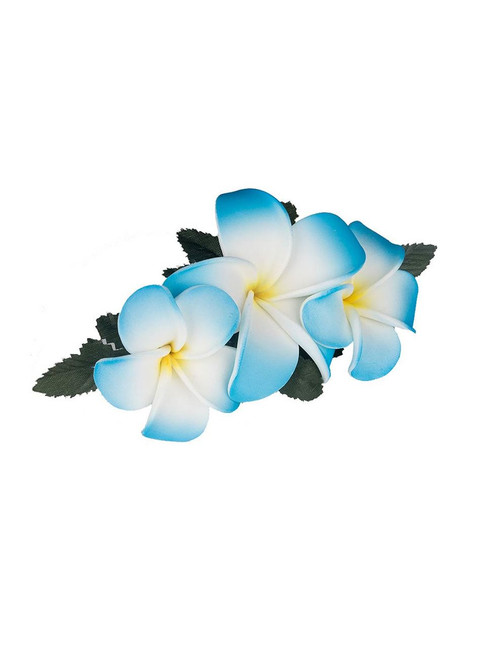 "3 Plumeria Flower Hair Clip Blue White Hair Accessory Flower Design Bendable Foam Large Banana Clip Color: Blue/White Size: 3"" X 5"" Imported"