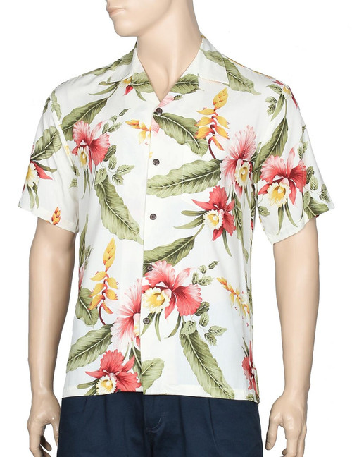 Orchid Pu'a - Men Rayon Hawaiian Shirt 100% Rayon Fabric - Soft and Classy Open Collar - Relaxed Modern Fit Coconut shell buttons - Matching left pocket Color: Beige Sizes: S - 3XL Made in Hawaii - USA