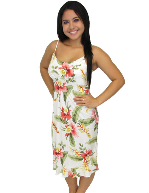Orchid Pua Spaghetti Straps Rayon Mid-Length Dress 100% Rayon Fabric Spaghetti Thin Shoulder Straps Round Neckline and Easy Pull-Over Bias Fit Empire Waist and Ruffled Hemline Color: Beige Sizes: XS - 2XL Made in Hawaii - USA