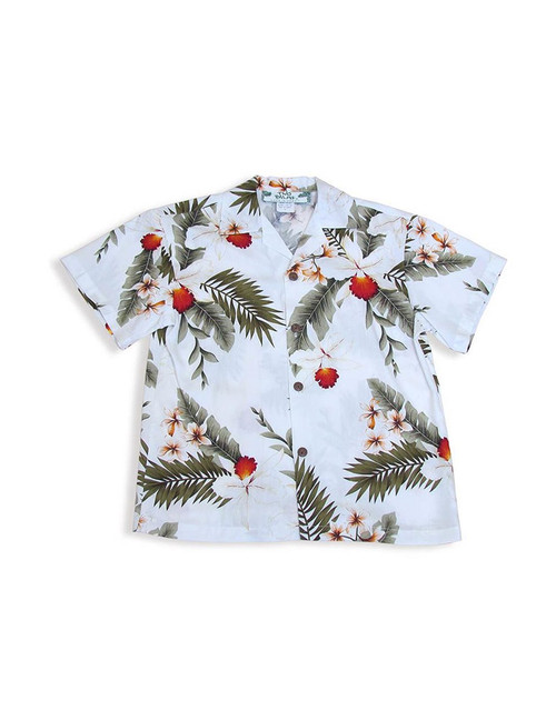 White Rayon Island Shirt for Boys - Hanapepe 100% Rayon Color: White Sizes: 1 - 14 Made in Hawaii - USA Matching Items Available