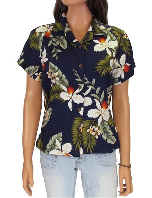 Hanapepe - Beach Blouse 100% Rayon Coconut shell buttons Colors: Navy Sizes: S - 4XL Made in Hawaii - USA Matching Items Available