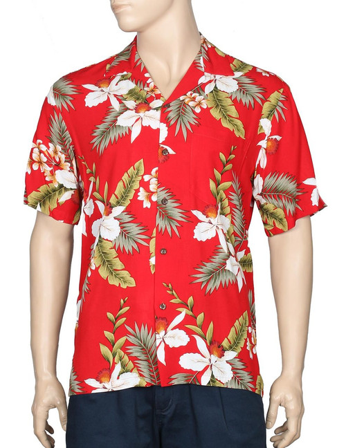 Hanapepe Rayon Hawaii Cocktail Shirt 100% Rayon - Soft and Classy Open Collar - Relaxed Fit Coconut shell buttons - Matching left pocket Colors: Red Sizes: S - 4XL Made in Hawaii - USA