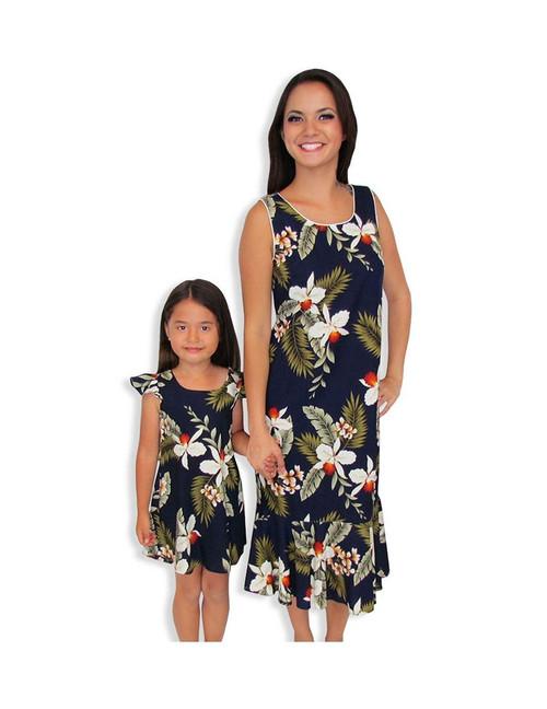 67ceaeb12028f ... Hawaiian Tank Dress Mid Length Hanapepe Navy 100% Rayon Soft Fabric  Neckline Piping Hidden Back ...