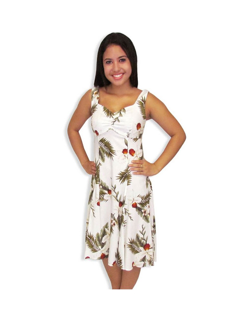 White Hanapepe Midi Hawaiian Sundress 100% Soft Rayon Semi Tank Straps and Sweetheart Neckline A-Line Hem Dress with Back Zipper Color: White Sizes: XS - 2XL Made in Hawaii - USA