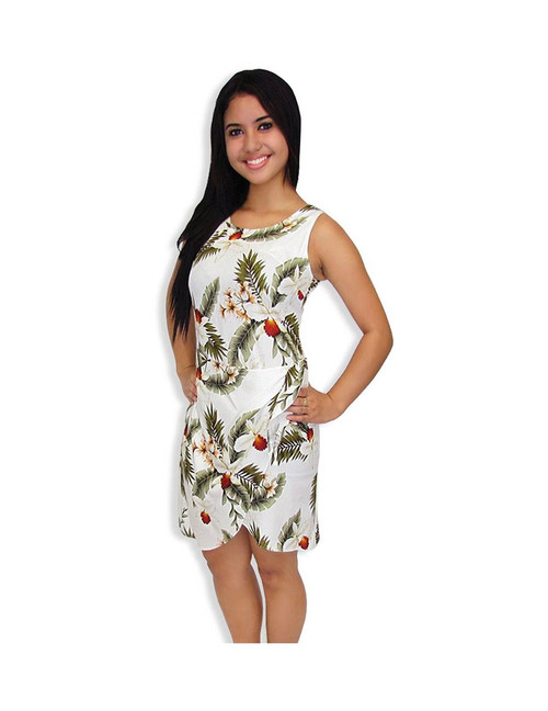 White Sarong Dress in Rayon Hanapepe Orchids 100% Rayon Soft Fabric Tummy Hiding Adjustable Front Tie Back Zipper Color: White Sizes: S - 2XL Made in Hawaii - USA