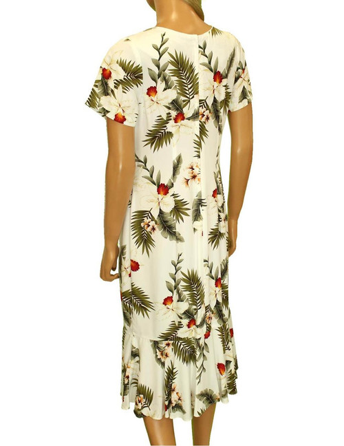 9b2c4a0e36766 ... Midi Aloha Dress with Sleeves Hanapepe Design 100% Rayon Fabric Comfort  Round Neckline Piping Wrapped