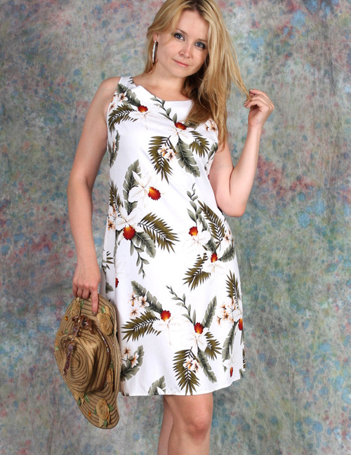 Tank Straps Hawaiian Dress Knee Length Hanapepe 100% Rayon Soft Fabric Knee Length Skinny Tank Straps Color: White Sizes: XS - 2XL Made in Hawaii - USA