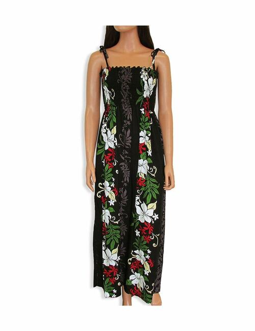 54a21fb76aa Tube-Top Long Rayon Lokelani Smocked Dress 100% Rayon Color  Black Length