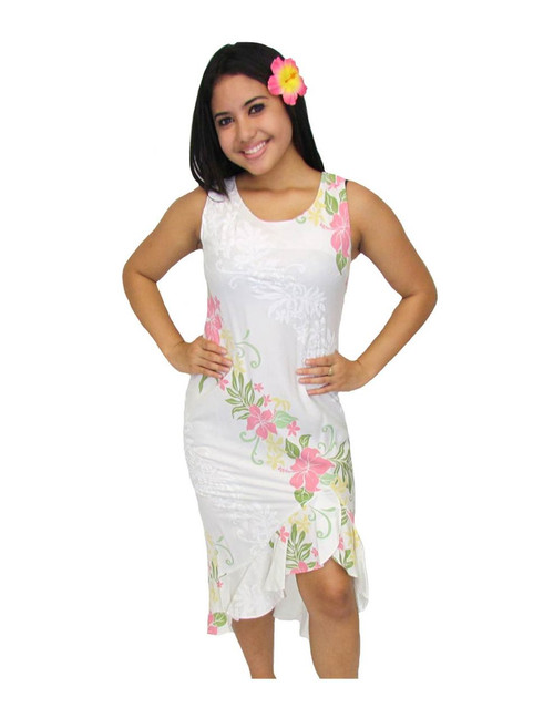 White Lokelani Tank Straps Mid Length Ruffled Dress 100% Rayon Fabric Sleeveless Tank Straps Style Dress Side Zipper and Flirty Hem Design Color: White Sizes: XS - 3XL Made in Hawaii - USA