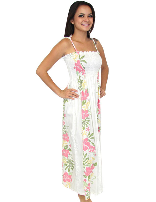 Maxi Long Floral White Dress Lokelani Smock Tube Top 100% Rayon Fabric Smocked Tube Top Design Long Maxi Dress Tie On Shoulder or Halter Style Wear Strapless Option Color: White Sizes: One-Size Dress Made in Hawaii - USA