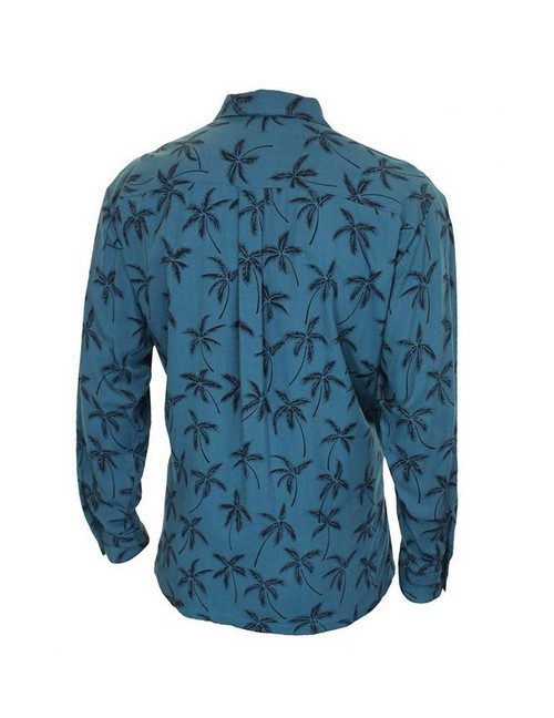 74eb0f7ca ... Teal Blue Rayon Long Sleeves Tropical Palms Aloha Shirt - Hawaiian Gala  Design 100% Quality
