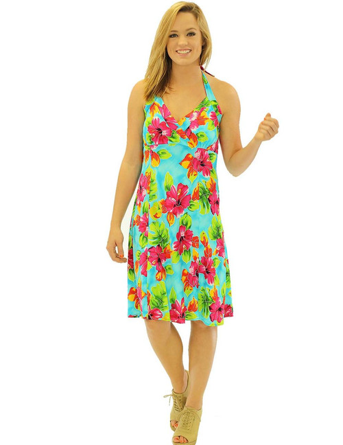 Water Hibiscus Halter Neck Empire Short Rayon Dress Short Style - Sexy Fit 100% Rayon Fabric Adjustable Halter Ties Open Mid-Back Elastic Pull-Over Style Color: Teal Sizes: XS - 2XL Made in Hawaii - USA