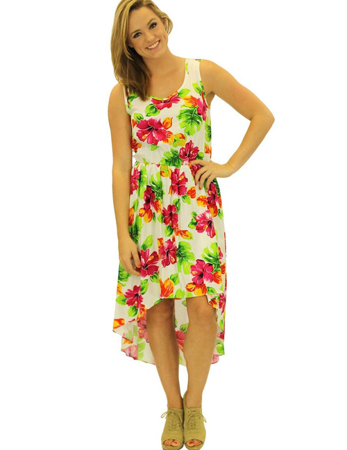 Aloha High Low Rayon Mid Length Dress Water Hibiscus