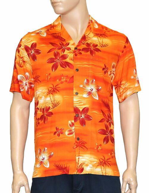Hawaiian Shirt in Rayon Resort Moonlight Scenic 100% Rayon Fabric - Soft and Classy Open Collar - Relaxed Modern Fit Coconut shell buttons - Matching left pocket Color: Orange Sizes: S - 3XL Made in Hawaii - USA