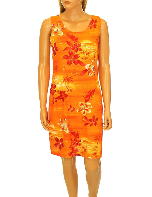 Short A-Line Tank Hawaiian Vacation Dress Moonlight Scenic 100% Rayon Color: Orange Sizes: S - 2XL Zipper on Back Made in Hawaii - USA  Matching Items Available