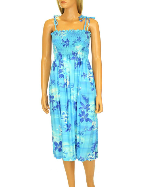 """Knee Mid Length Smocked Dress Elastic Top Design Moonlight Scenic 100% Rayon Fabric Color: Blue Length: 33"""" (mid size) Size: One Size fits most Made in Hawaii - USA"""