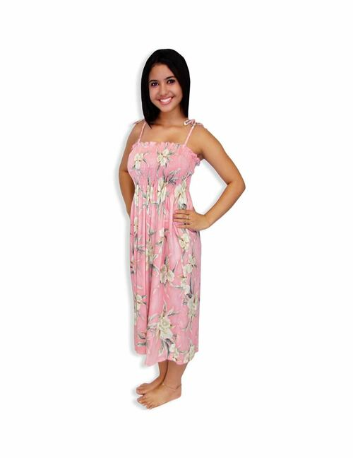 25ac36f51be2 ... Mid Length Tube Top Orchids Smocked Dresses - Malana 100% Rayon Color:  Pink Length ...