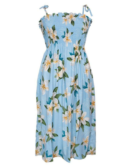 Smocked Dress Plumeria Sky 100% Rayon Fabric Smocked Tube Top Design Tie On Shoulder or Halter Style Wear Strapless Option Length: Bust Line to Hem 33 Inches (83.82 cm) Colors: Blue Size: 1-Size Fits Most XS-XL Made in Hawaii - USA