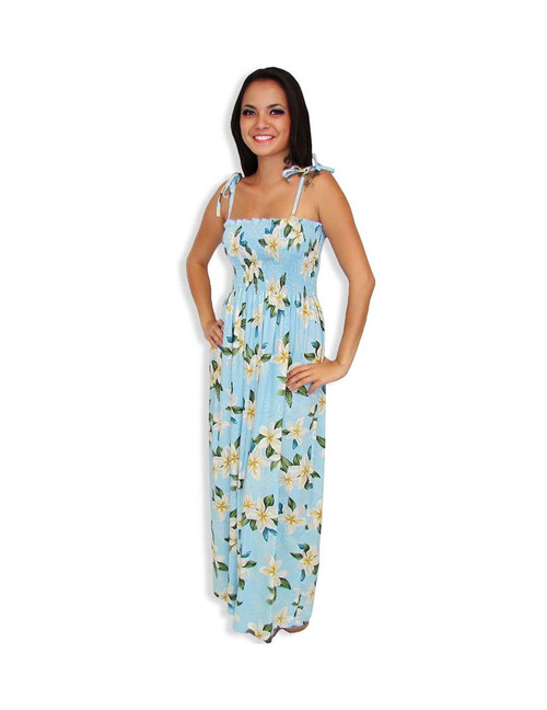 Women Tube Top Aloha Long Smocked Dress Plumeria Sky 100% Rayon Color: Blue Length: 47-48 Inches From Bustline Size: One Size fits most Made in Hawaii - USA Matching Items Available