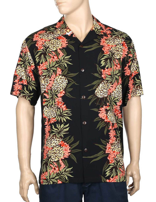 Pineapple Panel Hawaiian Shirt 100% Rayon Fabric - Soft and Classy Open Collar - Relaxed Fit Coconut shell buttons - Matching left pocket Hilo Hattie Exclusive Design Color: Black Sizes: S - 4XL Made in Hawaii - USA