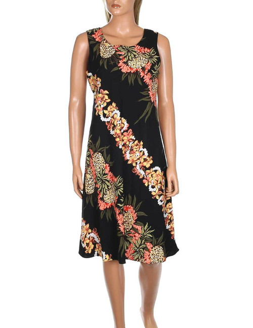 Pineapple Panel Tank Short Rayon Dress 100% Soft Rayon Fabric Bias-Cut Tank Dress Design Scoop Neck Style Dress Hilo Hattie Exclusive Design Color: Black Sizes: XS - 4XL Made in Hawaii - USA