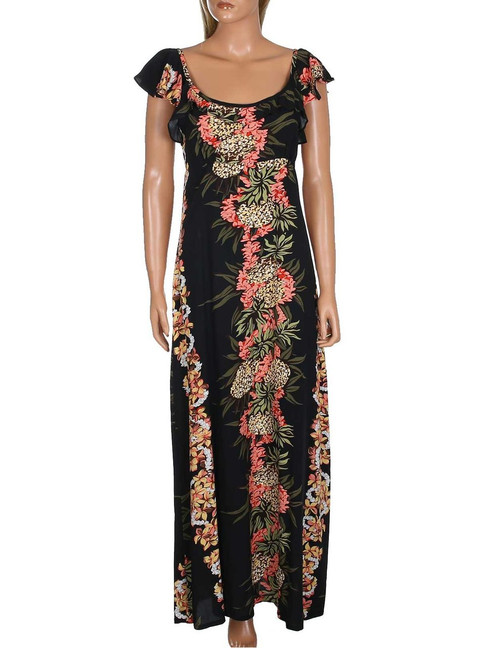 Maxi Long Empire Dress Flutter Sleeve Pineapple Panel 100% Rayon Fabric Long Maxi Dress Style Flutter Sleeves Design Color: Black Sizes: XS - 3XL Made in Hawaii - USA