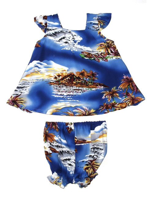 Cap Sleeves Aloha Girls Toddler Clothes Set Blue Hawaii 100% Rayon Fabric Matching Top and Bottome Infant & Toddler Clothes Care: Hand Wash Cold - Line Dry Color: Blue Sizes: 6M - 4T Made in Hawaii - USA