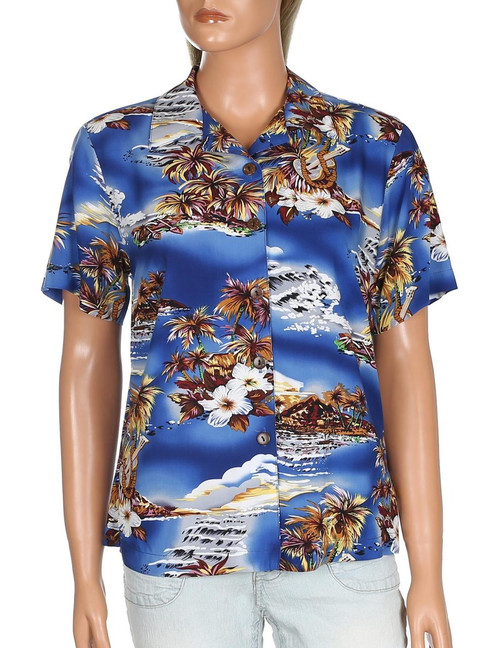 Blue Hawaii Rayon Camp Shirt for Women 100% Rayon Fabric Relaxed Camp Blouse Comfortable Fit Design Short Sleeves Coconut Shell Buttons Color: Blue Sizes: S - 3XL Made in Hawaii - USA