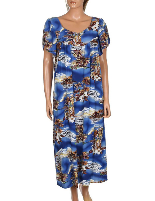 Blue Hawaii Midi Muumuu Dress with Tulip Sleeves 100% Soft Rayon Fabric Relaxed Fit Dress Style Single Side Pocket Color: Blue Sizes: S - 2XL Made in Hawaii - USA