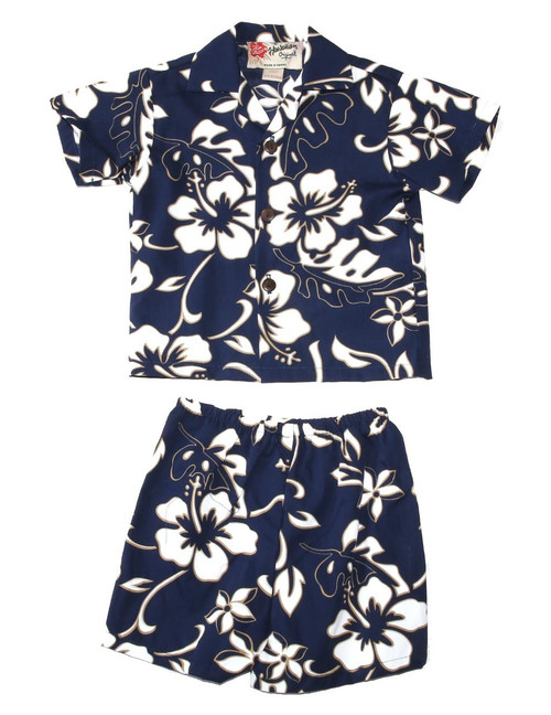 Classic Hibiscus Pareo 2 Piece Boy's Cotton Cabana Set 2 Piece Set - Shirt and Shorts 100% Cotton Fabric Genuine Coconut Buttons Short's Elastic Waist Matching Fabric Design Colors: Navy Sizes: 6M, 12M, 2T, 4T Made in Hawaii - USA