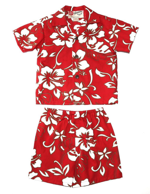 Classic Hibiscus Pareo 2 Piece Boy's Cotton Cabana Set 2 Piece Set - Shirt and Shorts 100% Cotton Fabric Genuine Coconut Buttons Short's Elastic Waist Matching Fabric Design Colors: Red Sizes: 6M, 12M, 2T, 4T Made in Hawaii - USA
