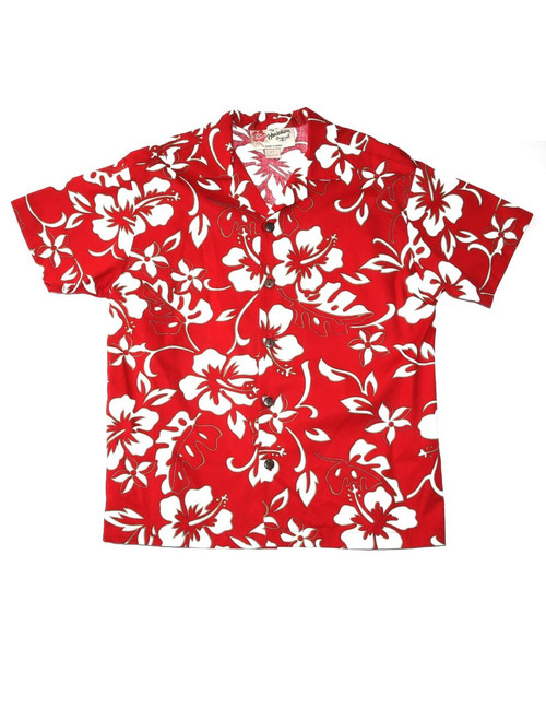 Boys Hawaiian Shirt Classic Hibiscus Pareo 100% Cotton Fabric Open Pointed Folded Collar Genuine Coconut Buttons Machine Wash Cold Cool Iron Color: Red Sizes: XS, S, M, L, XL Made in Hawaii - USA