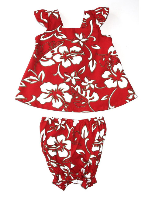 Baby Clothes 2 Piece Hawaii Capri Set Classic Hibiscus Pareo Includes a Comfortable Top and Matching Bottom Diaper Cover 100% Cotton Fabric Color: Red Sizes: 6M - 4T Made in Hawaii - USA