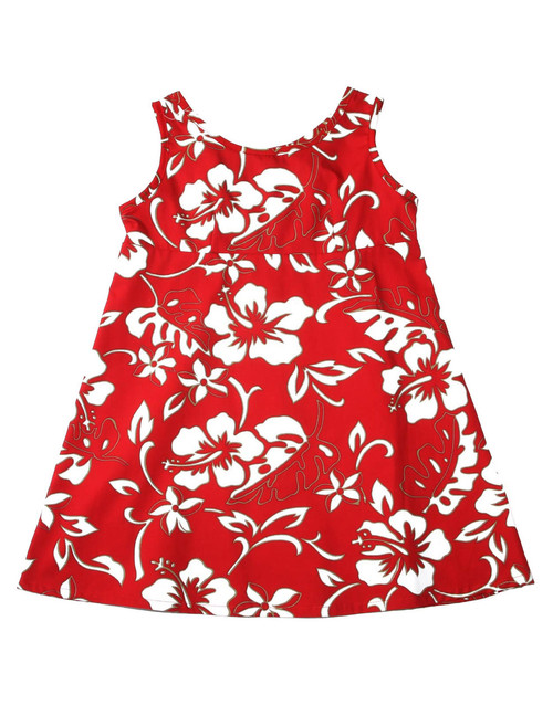 Girls Hawaii Dress Tank Classic Hibiscus Pareo 100% Cotton Fabric Tank Shoulder Straps Adjustable Waist Laces Back Zipper Color: Red Sizes: XXS - L Made in Hawaii - USA