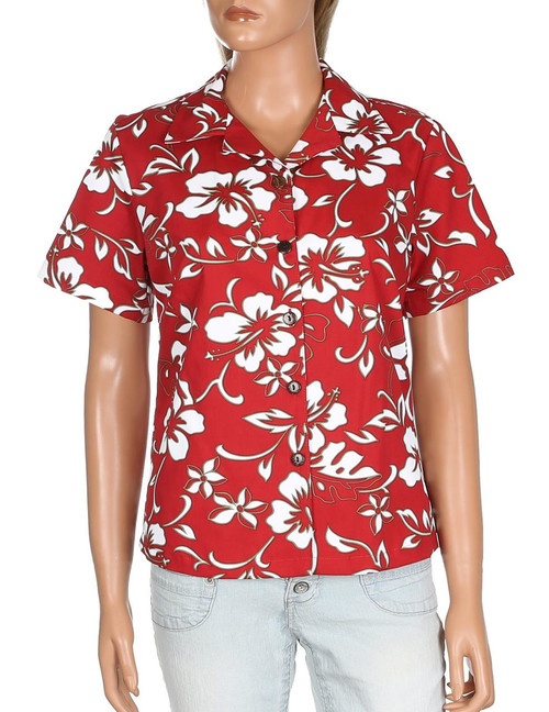 Classic Hibiscus Pareo Camp Shirt for Women 100% Cotton Fabric Relaxed Camp Blouse Comfortable Fit Design Short Sleeves Coconut Shell Buttons Color: Red Sizes: S - 4XL Made in Hawaii - USA