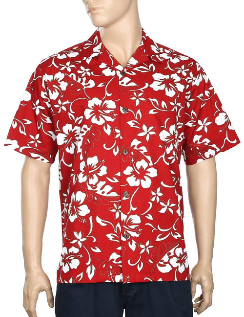 Classic Hibiscus Pareo Aloha Shirt 100% Cotton - Versatile and Cool Open Collar - Relaxed Modern Fit Coconut shell buttons - Matching left pocket Color: Red Sizes: S - 4XL Made in Hawaii - USA