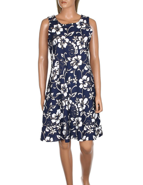 """Hawaiian Short Sleeveless Bias Dress Classic Hibiscus Pareo 100% Cotton Fabric Pull Over Style and Round Neckline Bias Cut and A-Line Shape The """"bias-cut"""" is a technique used to accentuate body lines and curves, draping softly like an """"A shape"""" Color: Navy Sizes: S - 3XL Made in Hawaii - USA"""