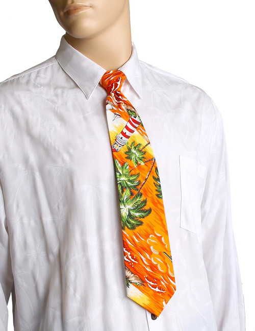 "Orange Aloha Necktie Diamond Head Lighthouse Awesome tropical patterns and colorful designs, perfect for casual and formal events 100% Cotton Fabric Color: Orange Length: 53"" Width: 4"" At wide end Made in Hawaii"