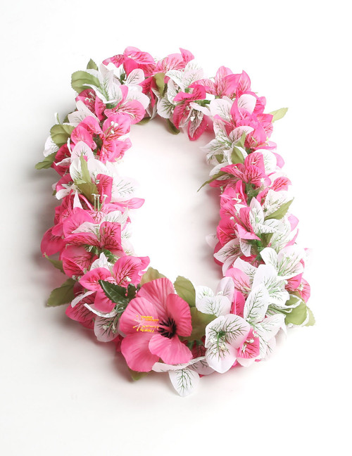 Bougainvillea White Pink Silk Aloha Lei Yellow Hibiscus Silk Flower Accent Durable - Long-lasting Silk Unscented - Hypoallergenic Color: White Pink Length: 40 Inches Circumference Imported Do you need flower accessories for your big event? Ask about quantity discounts