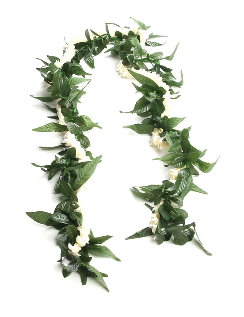 Silk Maile-Style Ti Leaf and Pikake Lei Open-Ended 60 Inch Silk Flower Accent Open-Ended Lei Design Durable - Long-lasting Silk Unscented - Hypoallergenic Color: White/Green Length: 60 Inches Long Imported Do you need flower accessories for your big event? Ask about quantity discounts.