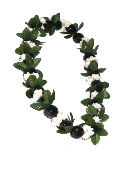 """Black Polished Kuku Nut and Pikake Candlenut Lei Linked Kukui Lei Design Durable - Long-lasting Unscented - Hypoallergenic Color: Black/Natural Length: 38"""" Circumference Imported Do you need flower accessories for your big event? Ask about quantity discounts."""