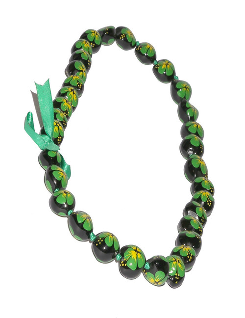 Green Hand Painted Flower Plished Kukui Nut Lei Linked Kukui Lei Design Durable - Long-lasting Unscented - Hypoallergenic Color: Green Length: 38 Inches Circumference Imported Do you need flower accessories for your big event? Ask about quantity discounts.