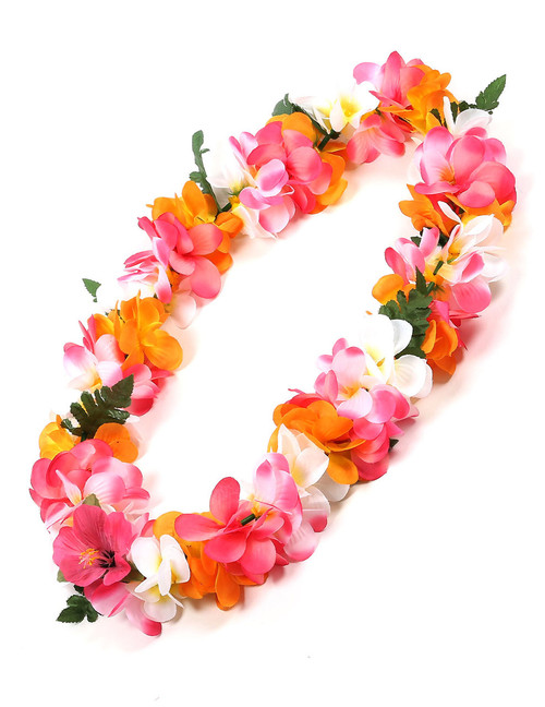 Multicolored Silk Flower Lei Plumeria Silk Hibiscus Flower Accent Durable - Long-lasting Silk Unscented - Hypoallergenic Color: Multicolored Length: 40 Inches Circumference