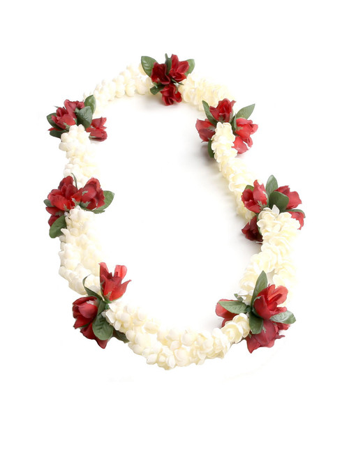 Double Pikake Rope with Red Rosebuds Silk Lei Small Silk Roses Accent Durable - Long-lasting Silk Unscented - Hypoallergenic Color: Red Length: 40 Inches Circumference Imported Do you need flower accessories for your big event? Ask about quantity discounts.