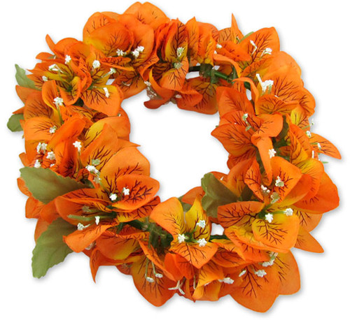 Bougainvillea Silk Flowers Headband Unscented Silk Flowers - Hypoallergenic Durable - Long-lasting Silk Color: Orange Length: 18 Inches Circumference Elastic String Adjustable Imported Do you need flower accessories for your big event? Ask about quantity discounts.