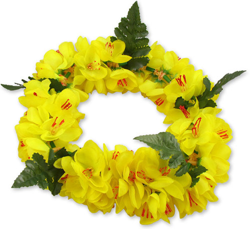 Yellow Silk Shell Ginger Flower Headband Unscented Silk Flowers - Hypoallergenic Durable - Long-lasting Silk Color: Yellow Length: 18 Inches Circumference Elastic String Adjustable Imported Do you need flower accessories for your big event? Ask about quantity discounts.
