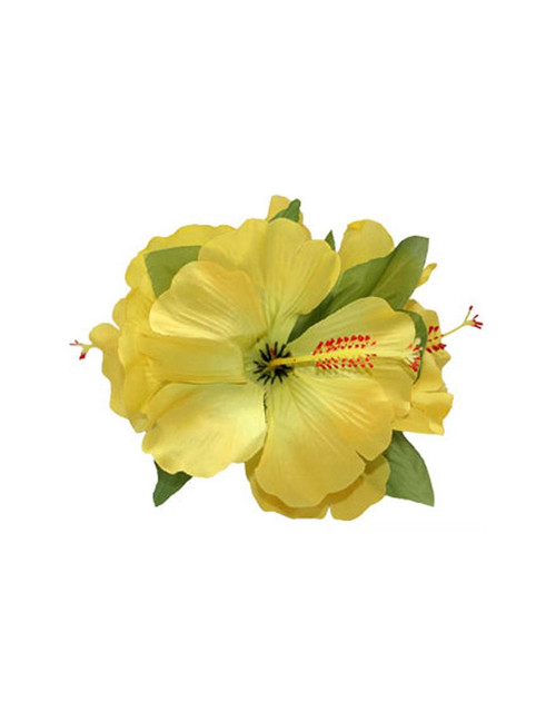 3 Cluster Hibiscus Flower Silk Flower Hair Clip Yellow  Tropical Hibiscus Flower Hair Clip Design Bendable Soft Silk Triple Flower Alligator Clip for Secure Hold Color: Yellow Size: 5 X 4 Inches (12.7 X 10.16 cm) Imported