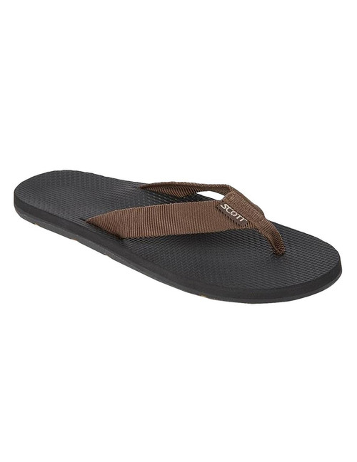 Men's Brown Tropical Sandals Scott Hawaii Makaha All rubber outsole with molded arch Textured Rubalon insole with heel cup Tubular nylon strap Color: Brown Sizes: 7 - 13 Imported
